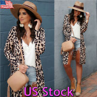 US Womens Cardigan Leopard Print Open Front Long Sleeve Loose Fashion Coat Size