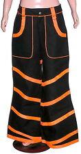Men Neon Orange Black Trousers pants baggy skater Bondage chain jeans punk USA