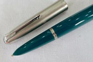 PARKER 51 CLASSIC MKI AEROMETRIC,1957 TEAL BLUE WITH LUSTRALOY CAP, BROAD NIB