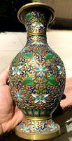Chinese Antique Vintage Brass Cloisonne Enamel Vase
