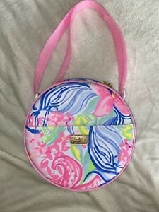 Lilly Pulitzer Bag Tote Round Cocktail Picnic Carrier Silverware Wineglasses NEW