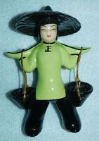 "Asian Man Woman Water Buckets Green Shirt Black Paddy Hat Figurine 8"" Porcelain"