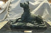 "Antique Art Nouveau Animalier Sculpture GREAT DANE by T CARTIER 19""X12"" c1910"