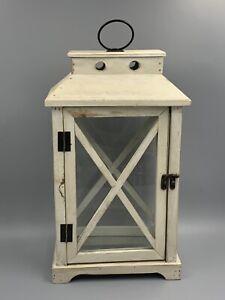 """Martha Stewart Collection Dolce Vita Wooden Lantern White 16"""" Tall"""