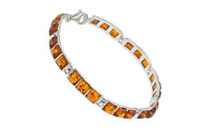 Sterling Silver 925 Bracelet Natural Baltic Amber Square Gems Jewellery Jewelry