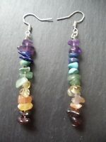 7 Chakra Rainbow Gemstone Earrings Sterling Silver Hooks Crystals Healing Gift