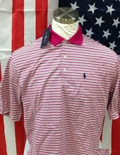 NWT Mens Polo Ralph Lauen Pink Striped Polo Shirt Size-Large