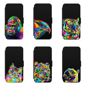 Colourful Painting Animals Art WALLET FLIP PHONE CASE COVER FOR IPHONE MODELS