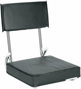 Markwort Tote Fold Up Padded Cushion Bleacher Stadium Seat Chair Black