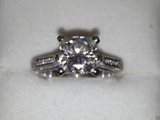 2.44 cts Cushion Cut Solitaire Diamond Engagement Ring Solid 14kt White Gold