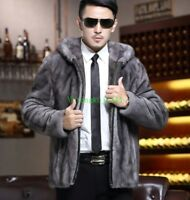 Winter Mens Real Mink Fur Coat Furry Warm Thick Hooded Jacket Outwear Parka Grey