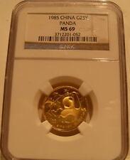 China 1985 Gold 1/4 oz Panda 25 Yuan NGC MS-69