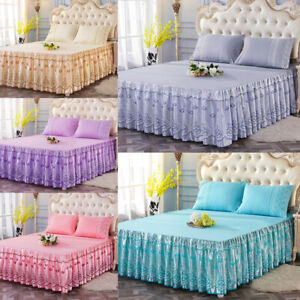 Lace Flower Floral Print Bed Skirt Pillowcase Ruffled Bedspread Full Queen King