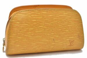 Authentic Louis Vuitton Epi Dauphine Cosmetic Pouch Yellow LV A6508