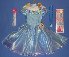 Disney Princess Cinderella costume dress-girls 4-6X-Jewelry-Headband-Bonus-LOT-6