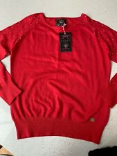 Lipsy Coral Studded Jumper Uk12 New With Tags £30