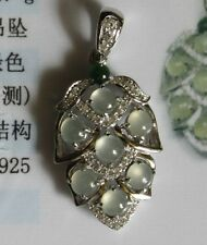 CERTIFIED Natural (A) Icy White Green Jadeite JADE Leaf Pendant 925 Silver #P846