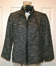 Eileen Fisher Cotton/Linen Jacket w/ Leather Trim, Black, XS, NWT $398