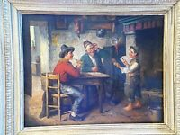 ANTIQUE POLISH OIL PAINTING ON CANVAS NAILED FRAMED AND SIGNED J. RUMBOLD