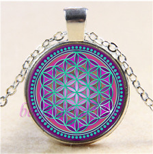 Purple Flower Of life Cabochon Glass Tibet Silver Chain Pendant Necklace