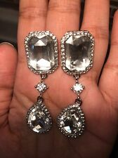 "2.5"" Long CLIP ON Rhinestone Crystal Clear Silver White Wedding Dangle Earrings"