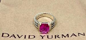 David Yurman 10 X 8MM Pink Tourmaline Petite Wheaton Ring & Diamonds
