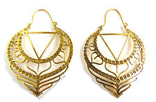 Large Indian Brass Earrings, Hand Crafted, Tribal, Bohemian, Boho, Made In India