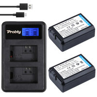 2Pcs NP-FW50 Battery + LCD Dual Charger For Sony Alpha A6000 A6300 A6500 A7r A7