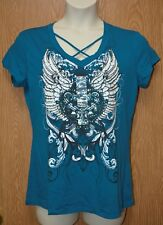 Junior Womens Turquoise Blue Winged Ransom Cap Sleeve Shirt Size XL NWT NEW