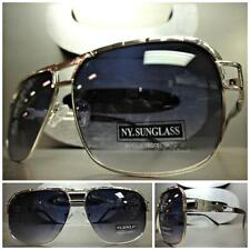 CLASSIC VINTAGE 70's RETRO Style SUN GLASSES SHADES Large Silver Fashion Frame