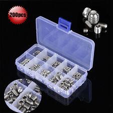 200pcs Stainless Steel Hex Socket Set Screw Grub Screws Assortment Kit M3-M8