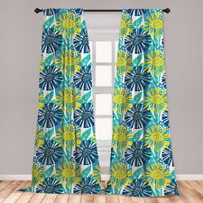 Floral Theme Microfiber Curtains 2 Panel Set Living Room Bedroom in 3 Sizes