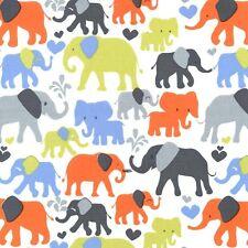 Fat Quarter Elephant Walk Sky Blue Cotton Quilting Fabric - Michael Miller