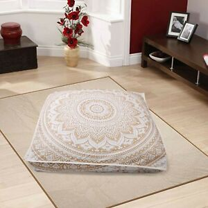 "Indian Mandala 35"" Square Floor Pillow Large Bohemian Meditation Cushion Cover"