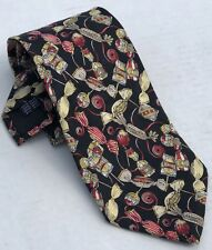 Kieselstein Cord 100% Silk Neck Tie Italy  Black Red Gold Wrapped Candy Pattern