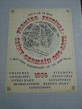 AFFICHE PREMIER FESTIVAL SAINT GERMAIN DES ARTS 1966 LITHOGRAPHIE 50X66cm