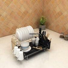 2 Tier Dish Drying Rack Stainless Steel Cutlery Drainer Tray Holder Dish Ra