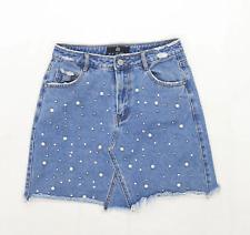 Missguided Womens Size 8 Denim Textured Blue Skirt (Regular)