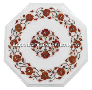 """12"""" Marble Side Coffee Table Top Carnelian Inlay Marquetry Furniture Decor H3028"""