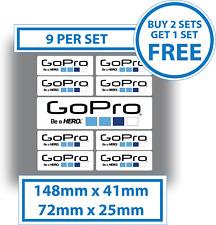 9 x Go Pro Stickers GoPro Be A Hero Decals Waterproof Vinyl 72x25mm & 148x41mm