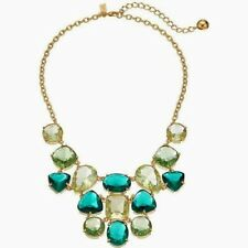 Kate Spade Vegas Jewels FACETED cluster emerald green hues bib necklace RARE