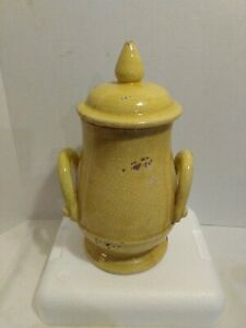 Handmade Wheeled Clay Pot Urn 2 handles & lid in a bright yellow color. HEAVY!