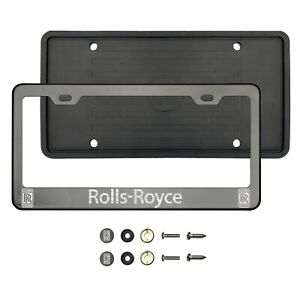 R0lls R0yce Laser Etched Black Chrome Stainless Steel License Frame Silicone