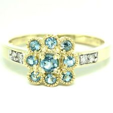 Topaz & Diamond 9K Solid Gold Antique Style Ring, Sz N, 30 Day Returns