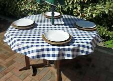 1.4m ROUND BLUE GINGHAM VINYL/PVC WITH PARASOL HOLE
