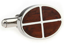 Wood and Stainless Steel Oval Segment Wedding Cufflinks by COWAN BROWN