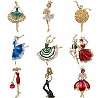 Women Ladies Crystal Ballet Girl Dancing Girl Brooch Pin Jewelry Gift Party New
