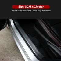 3CM*1M JDM Car Sticker Carbon Fiber Rubber Edge Guard Strip Door Sill Protector