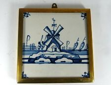 Antique Tile/ Tile, Windmill, Brass frame, Holland. From one Collection