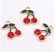 P1114 8pc Charms cherry Pendant Beads Necklace Jewellery Making Enamel